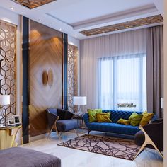 Living Room in Mansour on Behance Living Room Partition Design, Living Room Tv Unit Designs, Room Partition Designs, Small Living Room Design, Living Room Modern, Home Living Room, Living Area, Wall Cladding Interior, Living Room Decor Curtains