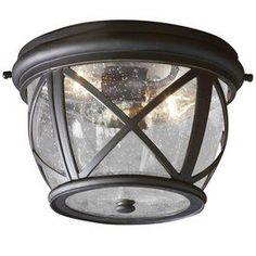 allen   roth Castine 10-7/8-in Bronze Outdoor Flush Mount Light
