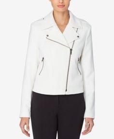 Catherine Catherine Malandrino Crepe Moto Jacket - White 10