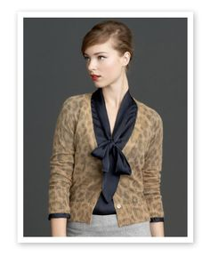 Banana Republic Mad Men Collection - Tie neck top with animal print sweater Mad Men Fashion, Work Fashion, Retro Fashion, Daily Fashion, Fashion Details, Fashion Ideas, Women's Fashion, Animal Print Cardigans, Animal Prints