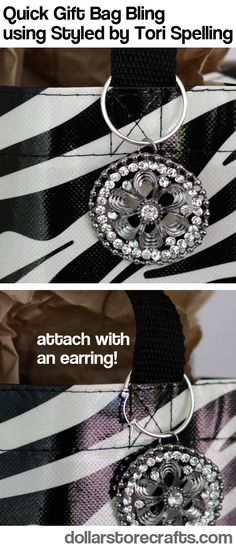 Easy gift bag bling trick using Styled by Tori Spelling DIY jewelry