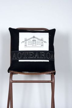 Native Agent Cushion - Whare Aotearoa Long White Cloud, Bed Pillows, Cushions, Nz Art, Kiwi, Numbers, Stitch, Crafts, Home Decor