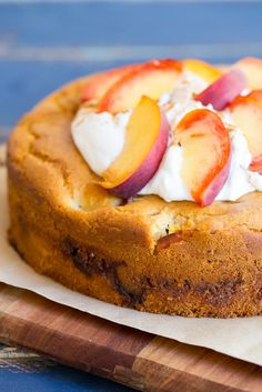 Fresh Peach Cake with Streusel Filling (Gluten Free)