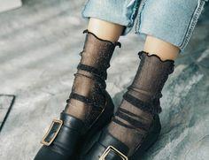 Leg Avenue Simli Kristal Tül Kısa Çorap Siyah
