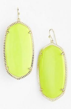 Kendra Scott 'Danielle' Oval Statement Earrings Neon Yellow/ Gold available at #Nordstrom