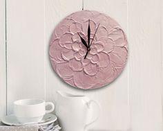 #peach #flower #homedecor #wallclock PEACH WALL CLOCK, unique Wall Clock, Peach Flower Home Decor, Floral wall decor - pinned by pin4etsy.com