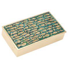 Line Vautrin bronze doré box with blue-green enamel.  A rare model which bears its original enamel.