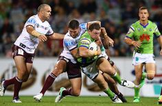 Shannon Boyd of the Raiders is tackled during the round eight NRL match between the Canberra Raiders and the Manly Sea Eagles at GIO Stadium on April 21, 2017 in Canberra, Australia.