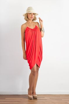 Draped Jersey Dress with Leather Straps by LanaStepulApparel, $87.00