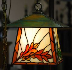 Oak Leaves and Acorns Stained Glass Lantern by DodgeGlassStudio on Etsy https://www.etsy.com/listing/150081243/oak-leaves-and-acorns-stained-glass