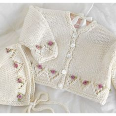 Cardigan and Bonnet Set - sizes 0 to 18 mos. - $4