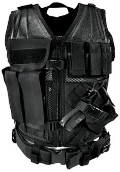 NcStar Tactical Vest Black Large Constructed of Tough PVC Larger size for and Fitting over Winter Clothing or Body Armor 4 Pistol Magazine Pouches, 3 Rifle Magazine Pouches, 1 Utility Pouch, and a Fully-adjustable Cross Draw Pistol Holster, Front Zipper Airsoft Vest, Tactical Vest, Tactical Clothing, Warrior Clothing, Tactical Watch, Pistol Holster, Holsters, Military Special Forces, Utility Pouch