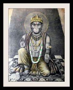 Old Antique Indian Hindu God Sitting Hanuman Ram Bhakt Print Rare Original Shiva Hindu, Shiva Art, Shiva Shakti, Hindu Deities, Hindu Art, Hanuman Pics, Hanuman Images, Hanuman Chalisa, Shri Ganesh