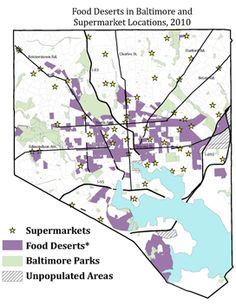 Food Deserts in Baltimore and Supermarket Locations, 2010