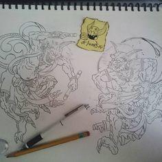"34 Me gusta, 3 comentarios - Andrea Bartoli (@akuma_babi) en Instagram: ""New sketch in progress #akumababi #onitattoo #onidemon #fujin #raijin #japanesetraditional…"""