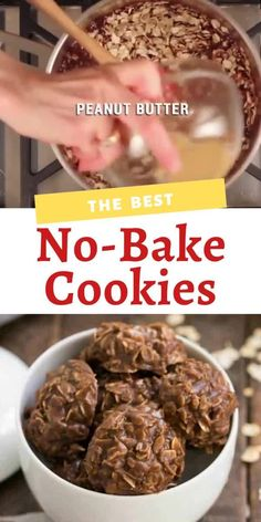 The Best No-Bake Cookies with peanut butter, chocolate and oats! food videos desserts chocolate Classic Chocolate Peanut Butter No Bake Cookies Easy Gluten Free Desserts, Easy Cookie Recipes, Homemade Desserts, Tart Recipes, Vegan Recipes Easy, Baking Recipes, Sweet Recipes, Nutella Recipes, Best No Bake Cookies