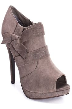 Grey Petite Bow Detail Booties ☺