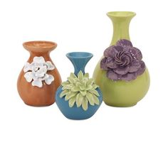 "Baylee Mini Vases - Set of 3 5.5-8.5""""h x 4.25-5.5""""w x 4.75-5.75"""""