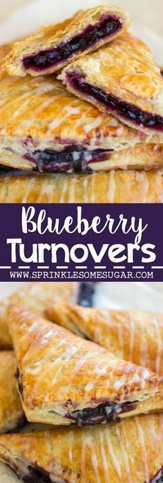 Turnovers Flakey pastry dough is filled with gooey homemade blueberry filling and topped with a sweet vanilla glaze.Flakey pastry dough is filled with gooey homemade blueberry filling and topped with a sweet vanilla glaze. Blueberry Turnovers, Apple Turnovers With Puff Pastry, Peach Turnovers, Tasty Pastry, Puff Pastry Recipes, Puff Pastries, Choux Pastry, Pastry Chef, Puffed Pastry Desserts