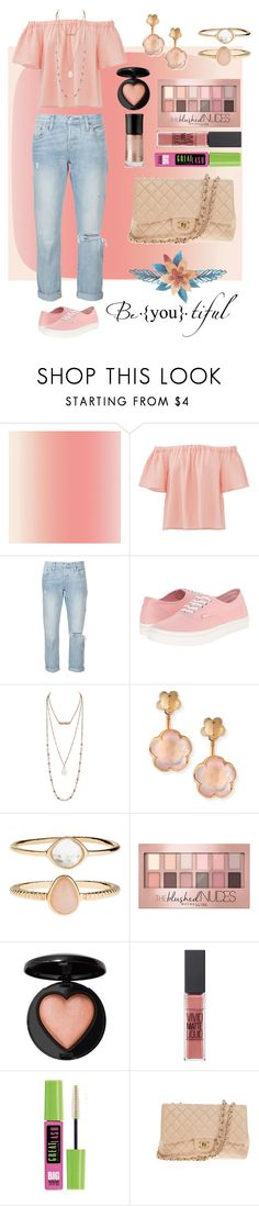 """Summer Peach"" by lhsbonez ❤ liked on Polyvore featuring Rebecca Taylor, Levi's, Vans, Pasquale Bruni, Accessorize, Maybelline, Mary Kay and Chanel"