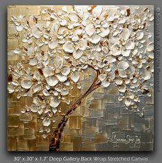 Contemporary Tree Painting Textured Modern Impasto Landscape Palette Knife Fine Art by Susanna