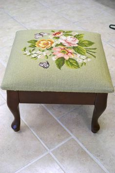 Footstool with Queen Anne Legs - Floral Needlepoint on Soft Green Background - 14