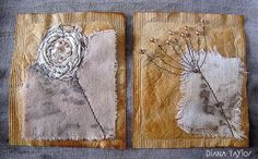 Winter Garden Tea Bag Art by Velvet Moth Studio Embroidery Bags, Hand Embroidery Designs, Embroidery Stitches, Tea Bag Art, Tea Art, Coffee Filter Art, Collages, Boro Stitching, Used Tea Bags