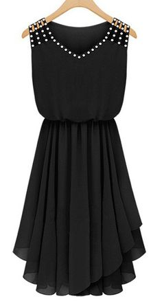 Classic Rhinestone Decorated Sleeveless V Neck Black Dress
