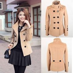 Double Breasted Stand Collar Long Sleeve Worsted Women's Short Pea ...