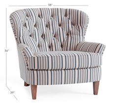 Cardiff Upholstered Tufted Armchair with Nailhead - Antique Stripe