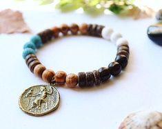 "HIP 8/""L Tibetan Silver 10mm Matte Black Onyx Gemstone Beaded Greek Key Bracelet"
