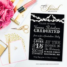 Twinkling Fairy Lights Graduation Party Invitation Black and White Typography