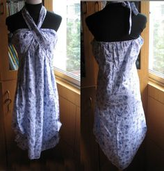 Grey Blue Rose White cotton Dress by jing1717 on Etsy, $9.99