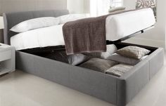 Serenity Upholstered Ottoman Storage Bed - New Grey - Ottoman Beds - Storage Beds - Beds Grey Storage Bed, Ottoman Storage Bed, King Storage Bed, Bed Frame With Storage, Ottoman Bed, Upholstered Ottoman, Grey Ottoman, Storage Beds, Platform Bed Frame Full