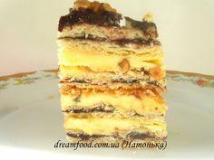 Пляцок Анничка Russian Cakes, Russian Desserts, Russian Recipes, Sweet Recipes, Whole Food Recipes, Cake Recipes, Polly Polly, Hungarian Cake, Layered Desserts