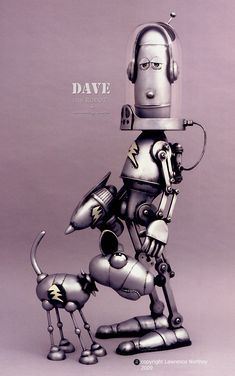 I love this artist's robots so so much!!...@Alison Seery Behan if this were your 'Dave' he'd loose the dog..in fact he'd probably forget he was walking a dog to start with !!!