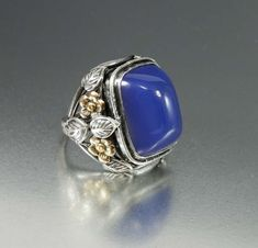Arts and Crafts Silver Sugarloaf Blue Chalcedony Ring #artsandcraftsantique,