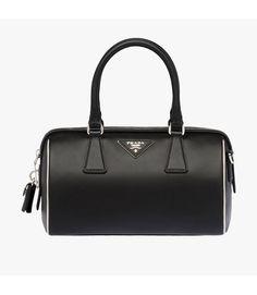 7553db69e7c2 Prada 1BB845 Leather Top-Handle Bag In Black Spring Bags