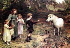 """Tempting Bait"", by English artist - Arthur John Elsley (1860-1952), Oil on canvas."