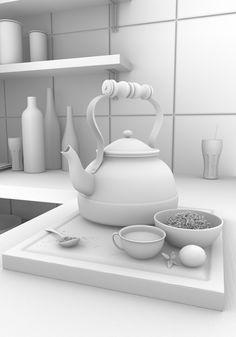 My kitchen on Behance Dystopian Art, Maya Modeling, Animation Portfolio, Cinema 4d Tutorial, Technical Illustration, Ambient Occlusion, Blender Tutorial, Modelos 3d, Low Poly Models