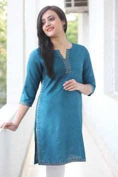 Understated elegance -  #blue #kurta at #fabindia