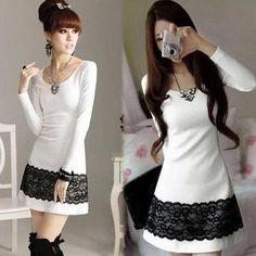 vestido blanco con detalles negros                                                                                                                                                                                 Más