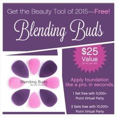 Ever used a beauty blender? Get a flawless finish fast with our exclusive Blending Buds! Younique now has them +there's only one way to get them...Book an online party with me during the month of January with $500 of sales and you'll receive:$70 of Younique Cash 3 half price items 2 blending buds...More information: https://www.youniqueproducts.com/AshleyHossley/business/party
