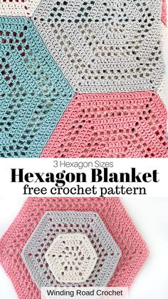 How to Crochet a Hexagon Blanket - Winding Road Crochet - - Learn to crochet a open stitch crochet hexagon blanket. Free crochet pattern by Winding Road Crochet. Plus Video Tutorial. Hexagon Crochet Pattern, Crochet Hexagon Blanket, Crochet Afghans, Crochet Quilt, Crochet Blocks, Crochet Stitches Patterns, Crochet Squares, Crochet Baby, Crochet Patterns For Blankets