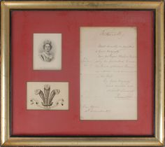 """Queen Victoria :                    Estim: $200+, final bid $477    Manuscript DS, signed """"Victoria R,"""" one page, 7.5 x 12.5, December 31, 1857. In part: """"Most humbly submitted to your majesty, that the Royal Cheshire Militia may be permitted to wear 'The Prince of Wales's Plume,' as advice and ornament on the Cap."""" Signed at the top by Queen Victoria. Double-matted and framed with two engravings to an overall size of 21.5 x 19.5. In fine condition, with intersecting folds, & five binding…"""