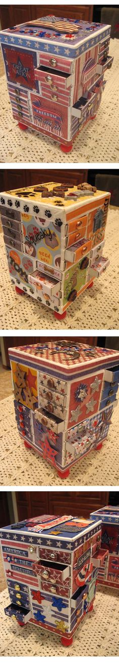 More MatchBox Furniture - My sisters and I get together from time to time and have a Sister Day where we craft something clever. This day we made wonderful patriotic and pet MatchBox furniture