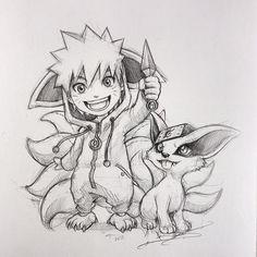 Naruto and Kurama Otaku Anime, Anime Naruto, Naruto Uzumaki Art, Naruto Cute, Manga Anime, Boruto, Naruto Sketch Drawing, Naruto Drawings, Anime Drawings Sketches