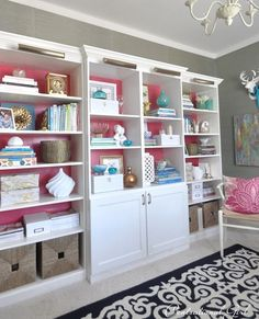 billy and besta bookcases -- set the center bookcase forward and join them with trim for the look of a pricey set.