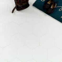 """Simple White 10"""" Hexagon Crystallized Glass """"Thassos"""" Tile"""