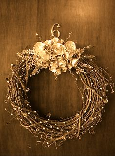 winter wreath ~ I have tons of pearls to attach!